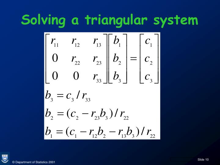 Solving a triangular system
