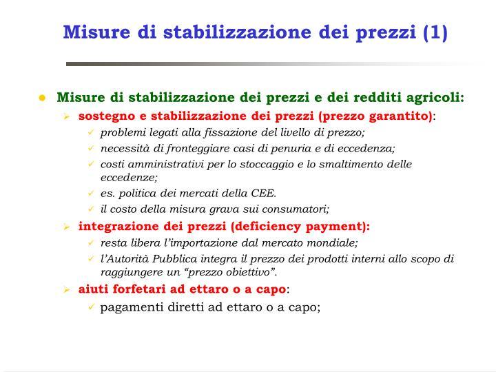 Misure di stabilizzazione dei prezzi (1)
