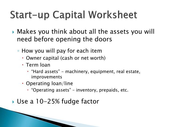 Start-up Capital Worksheet