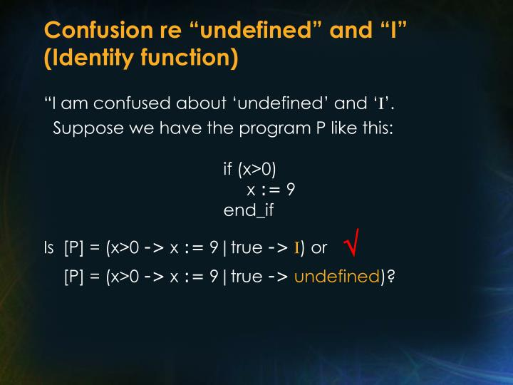 """Confusion re """"undefined"""" and """"I"""" (Identity function)"""