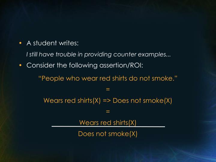 A student writes: