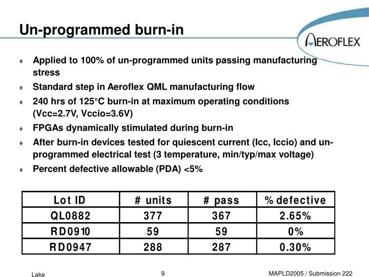 Un-programmed burn-in