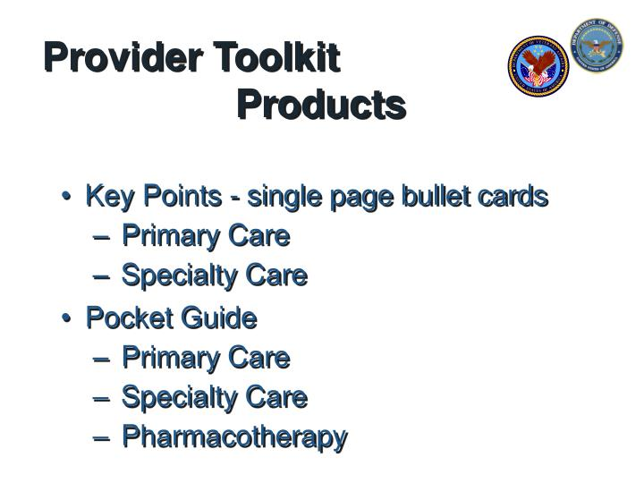 Provider toolkit products