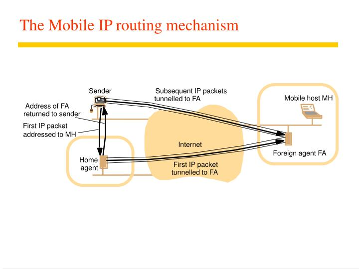 The Mobile IP routing mechanism