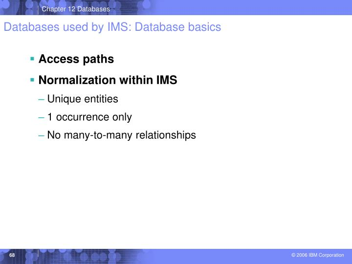 Databases used by IMS: