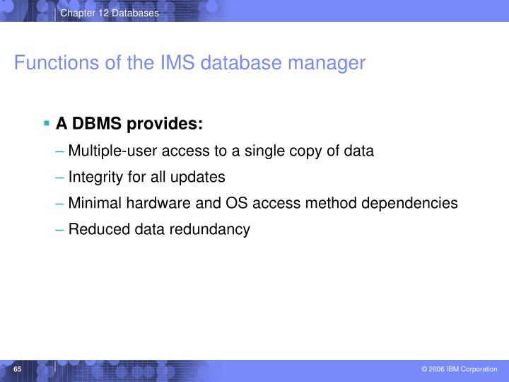 Functions of the IMS database manager