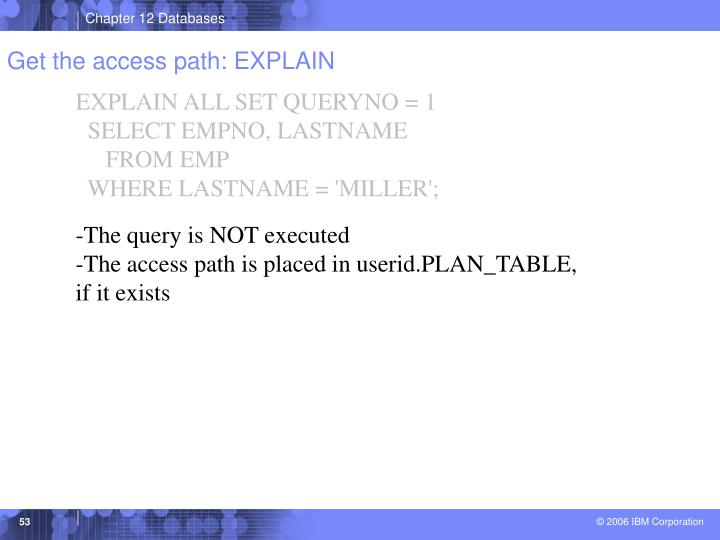 Get the access path: EXPLAIN