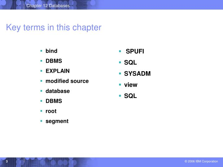Key terms in this chapter