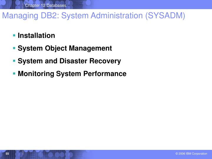 Managing DB2: System Administration (SYSADM)