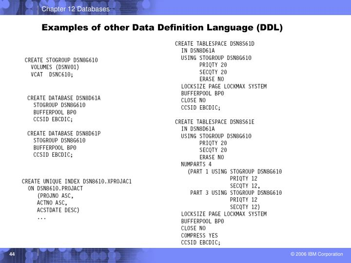 Examples of other Data Definition Language (DDL)