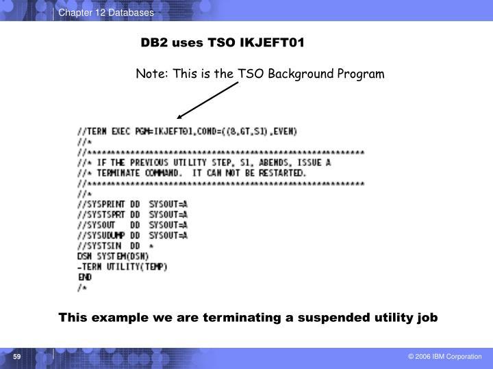 DB2 uses TSO IKJEFT01
