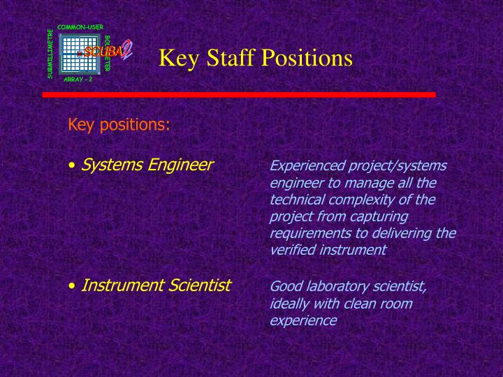 Key Staff Positions