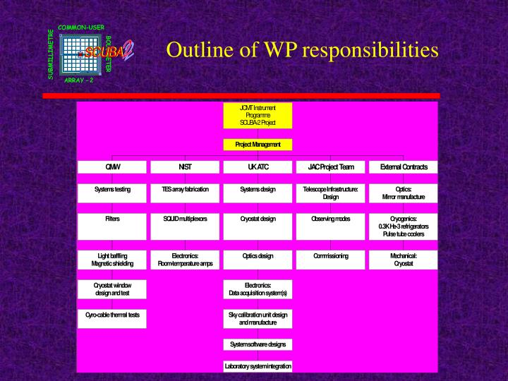 Outline of WP responsibilities