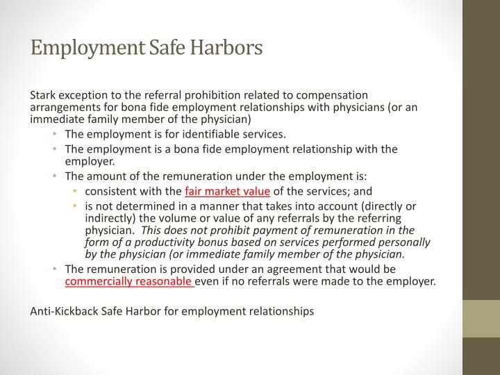 Employment Safe Harbors