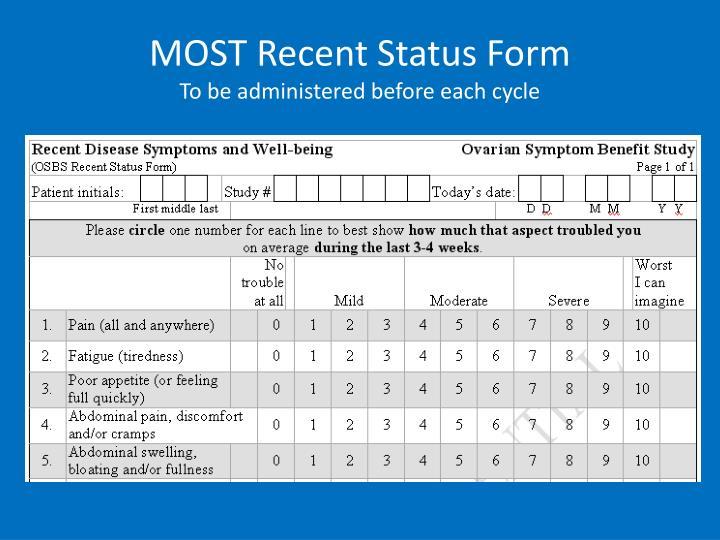 MOST Recent Status Form