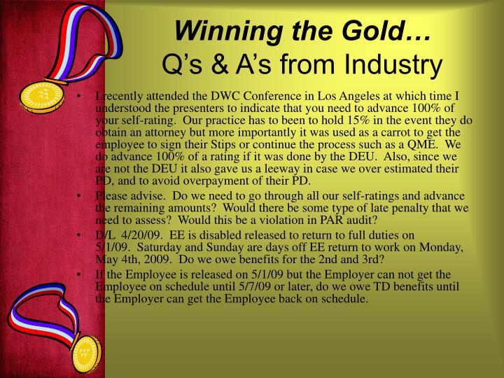 Winning the Gold…