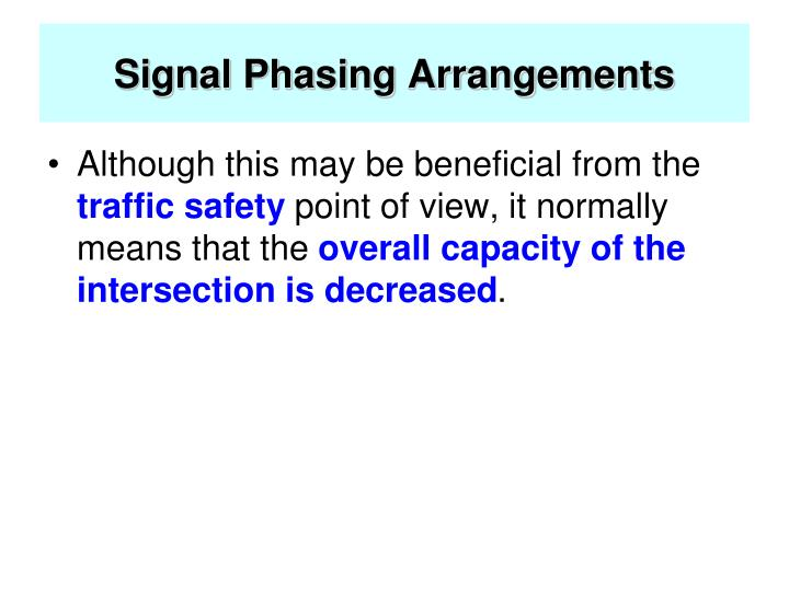 Signal Phasing Arrangements