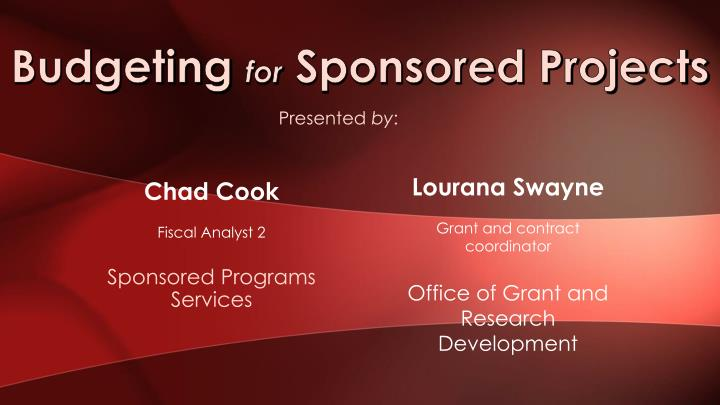 budgeting for sponsored projects