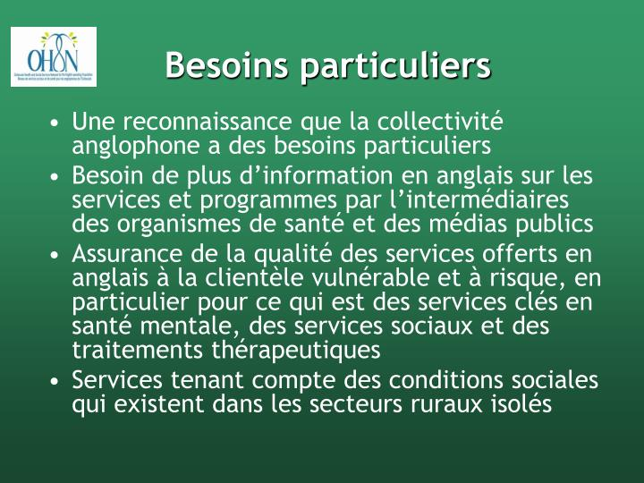 Besoins particuliers