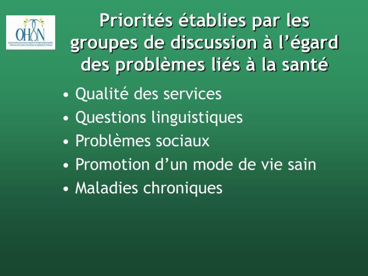 Priorités établies par les groupes de discussion à l'égard des problèmes liés à la santé