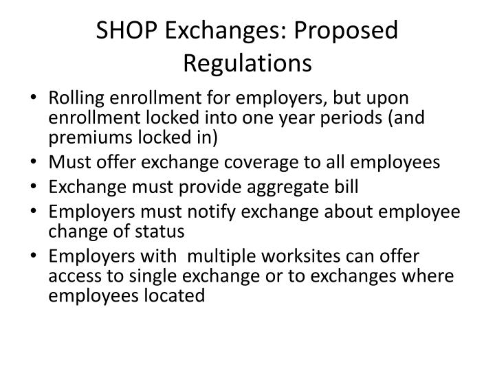 SHOP Exchanges: Proposed Regulations