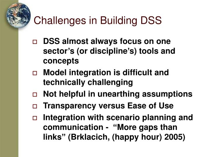 Challenges in Building DSS