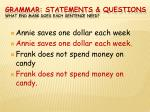 grammar statements questions what end mark does each sentence need