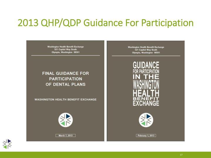 2013 QHP/QDP Guidance For Participation