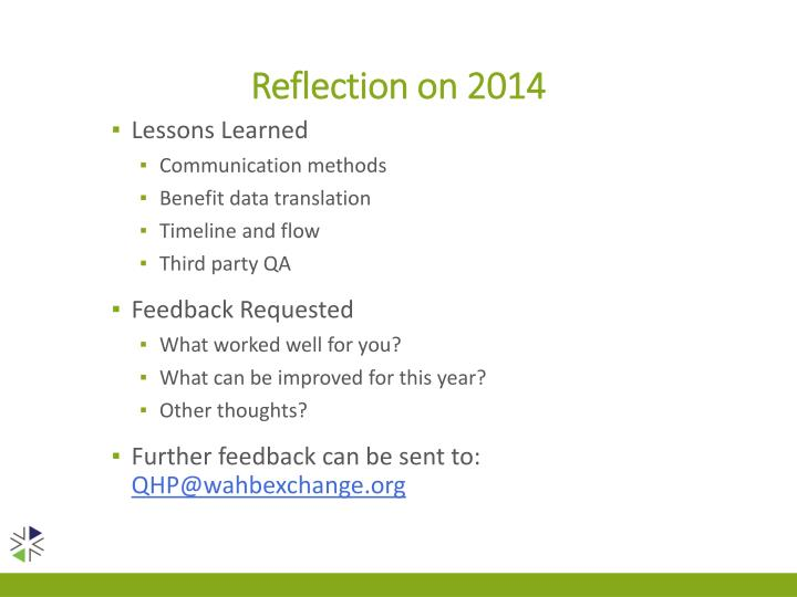 Reflection on 2014