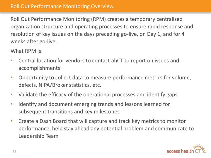 Roll Out Performance Monitoring Overview