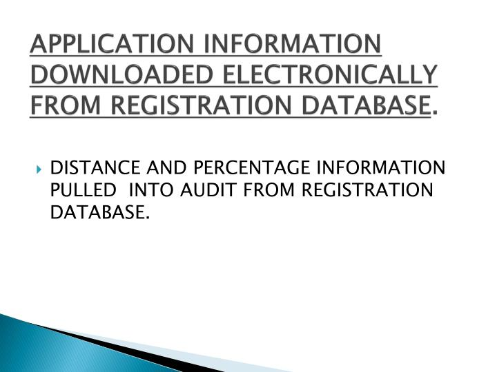 APPLICATION INFORMATION DOWNLOADED ELECTRONICALLY FROM REGISTRATION DATABASE
