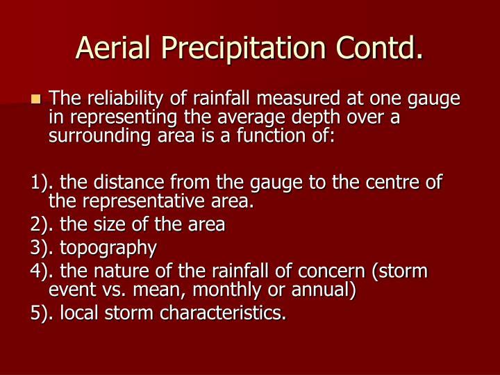 Aerial Precipitation Contd.
