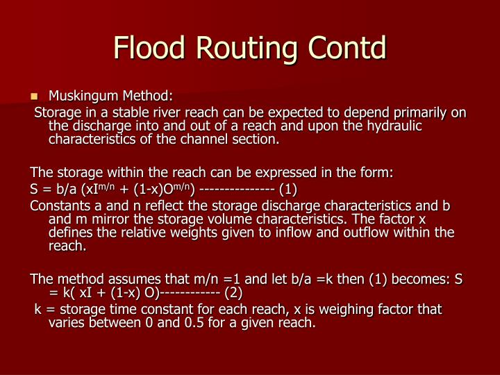 Flood Routing Contd