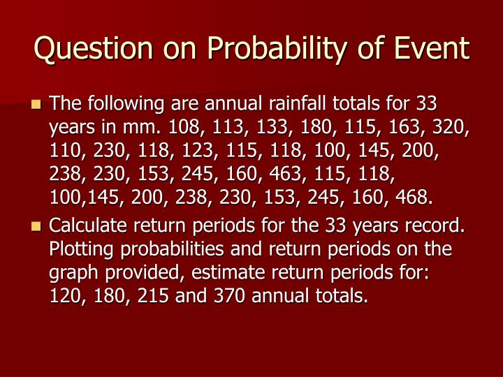 Question on Probability of Event