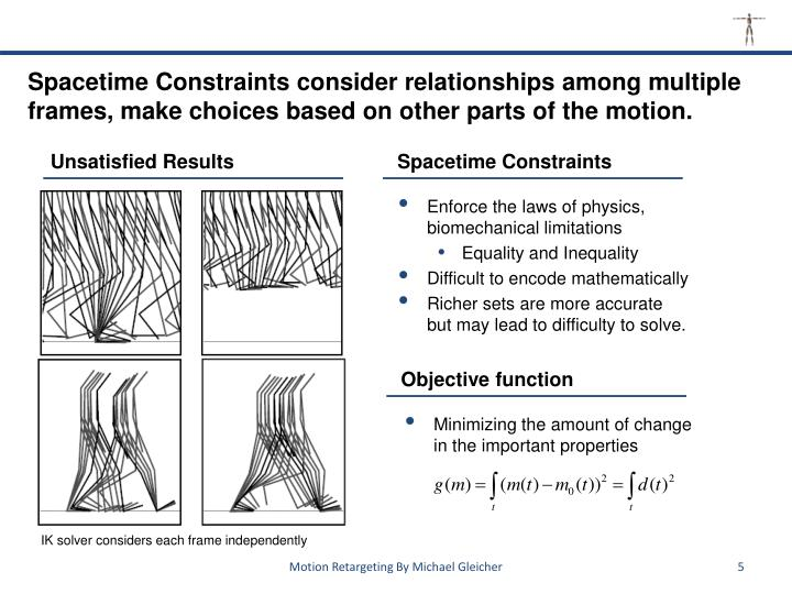 Spacetime Constraints consider relationships among multiple frames, make choices based on other parts of the motion.