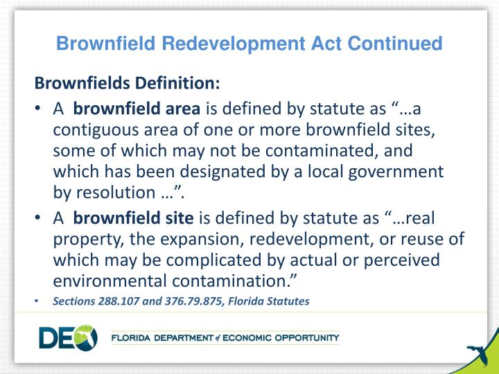 Brownfield Redevelopment Act Continued
