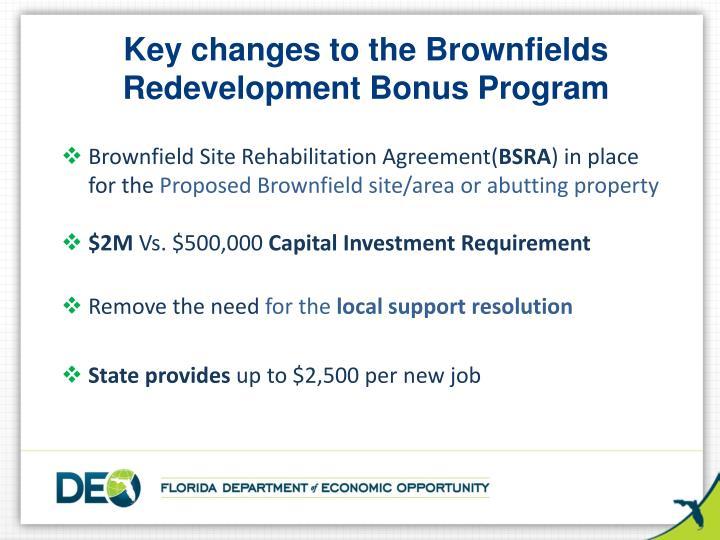 Key changes to the Brownfields Redevelopment Bonus Program