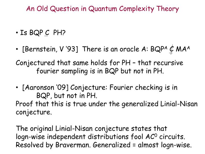 An Old Question in Quantum Complexity Theory