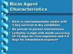 ricin agent characteristics