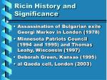 ricin history and significance