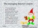 the managing director s report