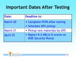important dates after testing