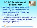 mela o retraining and requalification