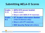 submitting mela o scores