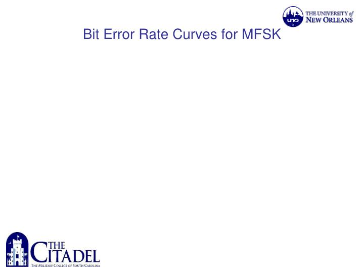 Bit Error Rate Curves for MFSK