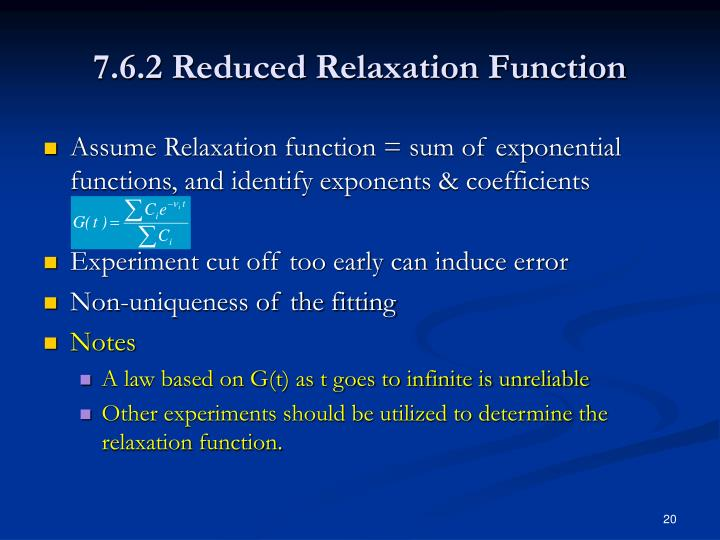7.6.2 Reduced Relaxation Function