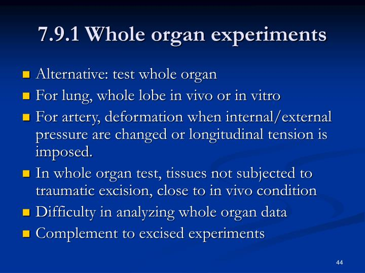 7.9.1 Whole organ experiments