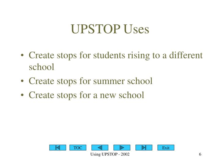 UPSTOP Uses
