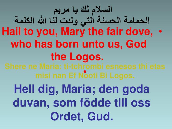 Hail to you, Mary the fair dove, who has born unto us, God the Logos.