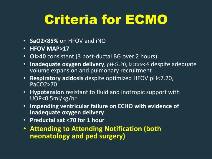 Criteria for ECMO